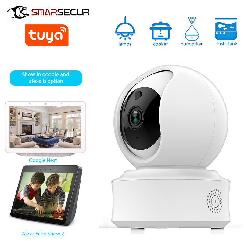 SMARSECUR Auto-suivi WiFi caméra IP 1080 P sécurité à domicile Mini caméra Vision nocturne Tuya vie intelligente