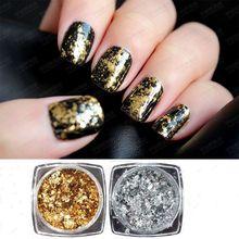 1 Box Mirror Glitter Silver & Gold Nail Sequins 0.2g/box Irregular Aluminum Flakes Art Powder Paillettes 2 Colors