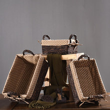 Rattan storage basket box American desktop finishing snack woven sundries new straw