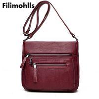 High Quality   crossbody     bags   for women Casual Solid Zipper 4 Colors 2018 Women Messenger shoulder   Bag   Sheepskin fashion F-52