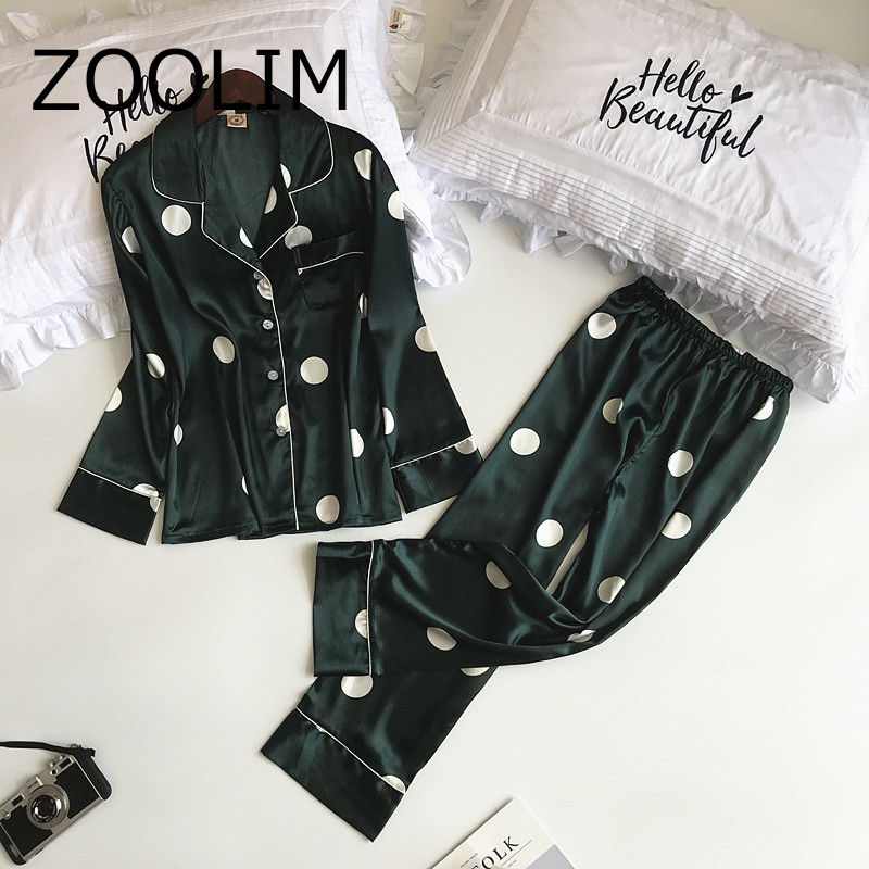 2018 Newest Autumn Long Sleeve Women   Pajamas     Sets   with Pants Sexy Satin Sleepwear Pijama Silk Pyjama Female Flower Print