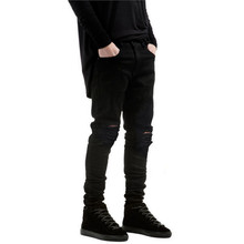 2017 New Black Ripped Jeans Men With Holes Denim Super Skinny Famous Designer Brand Slim Fit Jean Pants Scratched Biker Jeans
