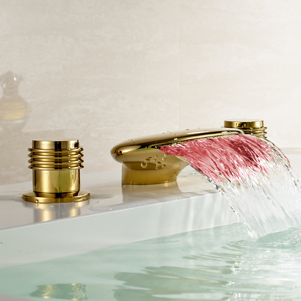 LED Light Waterfall Spout Bathtub Filler Faucet Widespread Mixer Tap Gold Finish