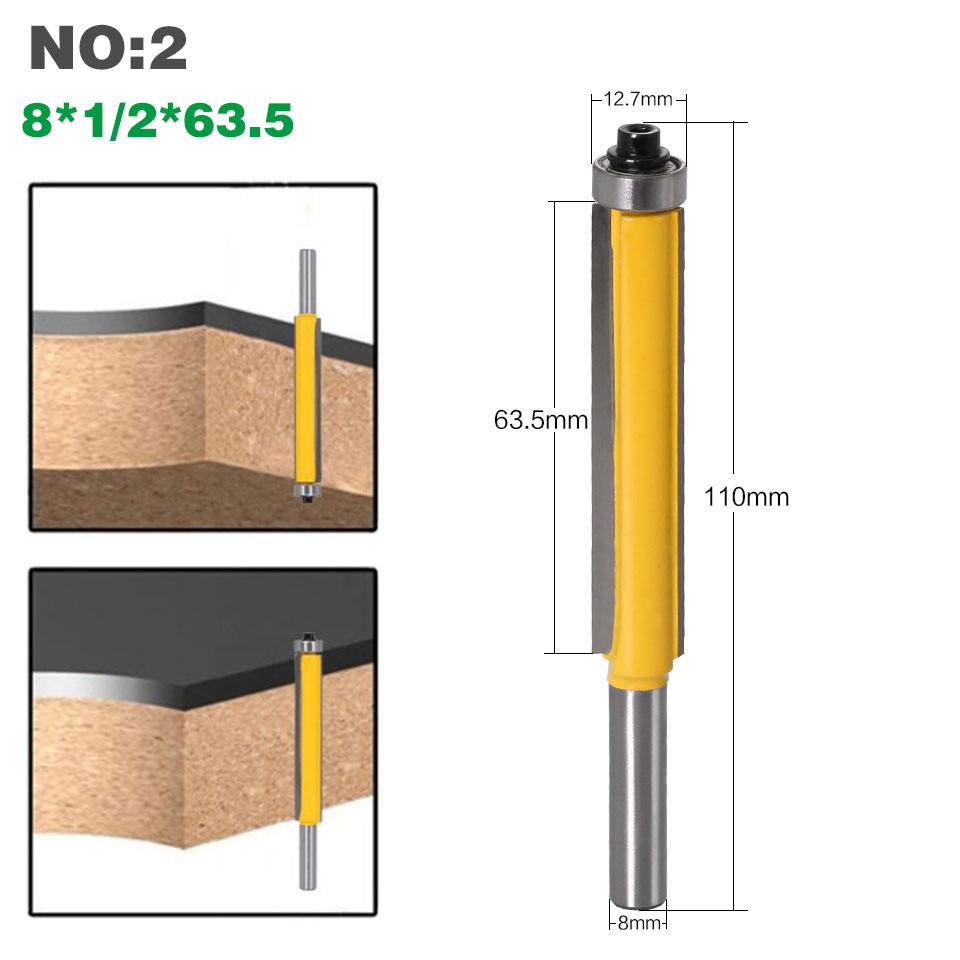 """HTB15ggQXBOD3KVjSZFFq6An9pXaS - 1pc 8mm Shank 2"""" Flush Trim Router Bit with Bearing for Wood Template Pattern Bit Tungsten Carbide Milling Cutter for Wood 02017"""