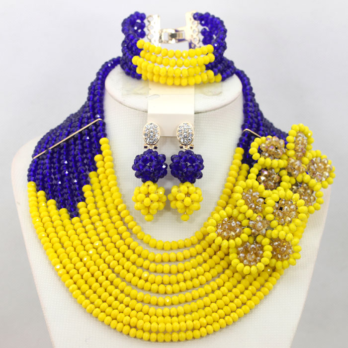 Online Shop Royal Blue Yellow Fashion African Jewelry Sets Flower Brooch Wedding Necklace Set New 2017 Free Shipping WA615