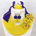 Royal Blue Yellow Fashion African Jewelry Sets Flower Brooch Wedding Necklace Set New 2017 Free Shipping WA615