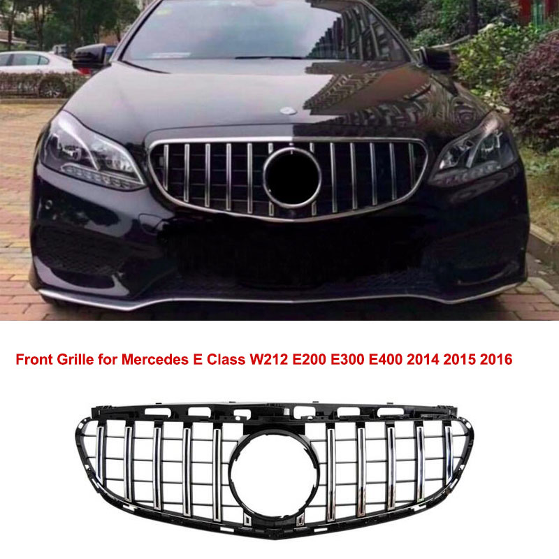 Front Hood <font><b>Grill</b></font> Upper Grille for <font><b>Mercedes</b></font> E Class <font><b>W212</b></font> E200 E300 E400 2014 2015 2016 GT GT-R Panamericana Style Auto Accessory image