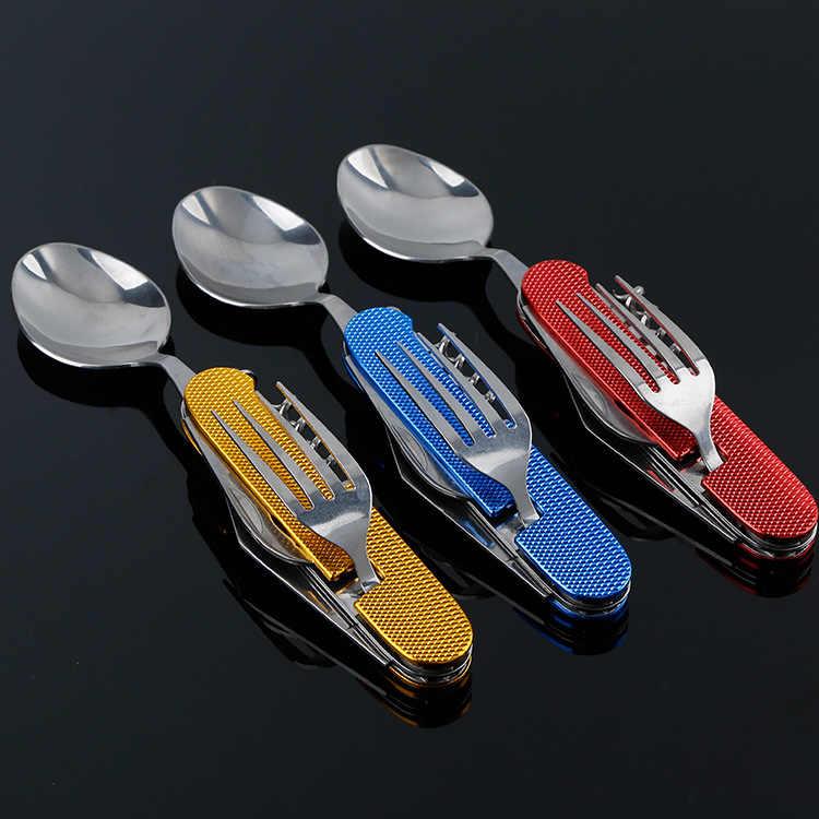 4 في 1 في الهواء الطلق أدوات المائدة شوكة ملعقة سكين فتاحة الزجاجات التخييم الفولاذ المقاوم للصدأ للطي جيب مجموعات عشاء بقاء المطبخ