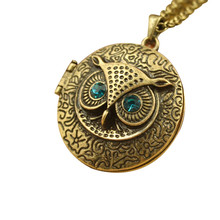 Stylish Jewelry Men Women Blue Zircon Eye Owl Locket Retro Long Necklace Pendant Steam Punk Cadenas Mujer Sweater Chain Dropship(China)