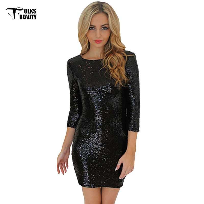 6f45e16b1edd 2017 Spring Summer Woman Dresses O Neck Long Sleeve Pailllette Sequins  Backless Bodycon Slim Pencil Dresses Little Black Dress-in Dresses from  Women's ...