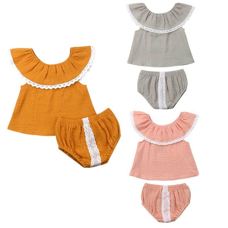 0-24 M Casual Neugeborenen Baby Mädchen Ärmel Cape Kragen Weste Tops Spitze Shorts Hose Pumphose 2 Pcs Outfits Sommer Kleidung Set