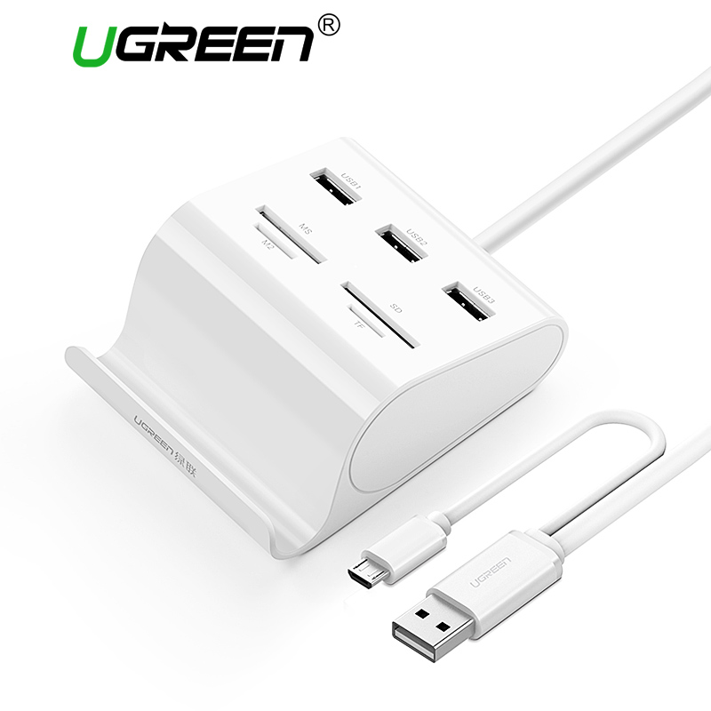 Ugreen All in 1 Card Reader with USB 3.0 HUB with Stand 3 Ports OTG Micro SD TF MS Memory Card Reader for Laptop OTG Card Reader glylezee tf sd mmc 3 in 1 smart otg memory card reader for computer desktop cellphone for samsung free shipping