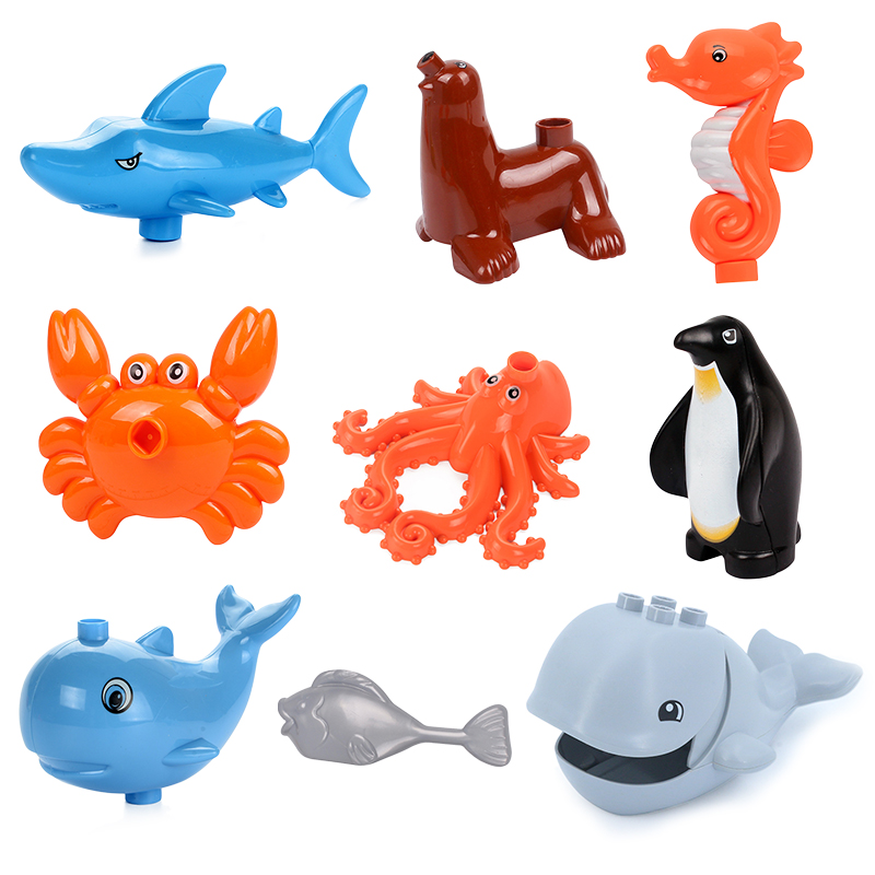Big Particles Ocean Animals Building Blocks Shark Penguin Whale Bricks Accessory Toys For Children Compatible With Duplos Zoo
