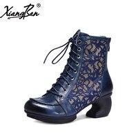 Xiangban из натуральной кожи ботильоны на высоком каблуке для Для женщин Элитный бренд Женская обувь шнуровка на необычном каблуке
