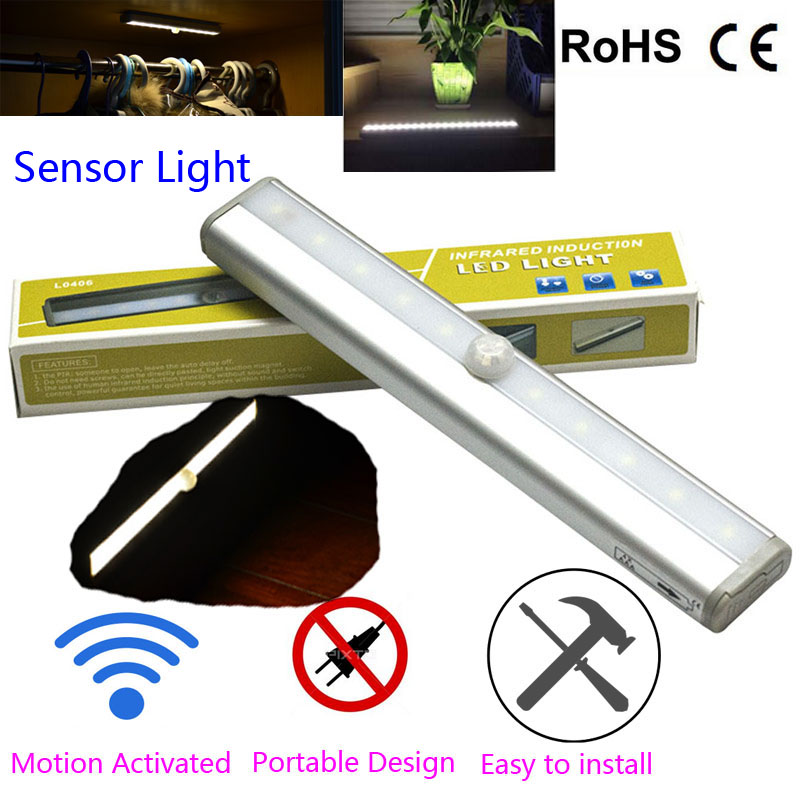 10 LED Wireless PIR Auto Motion Sensor Light Intelligent Portable Infrared  Induction Lamp Night Lights For Part 37