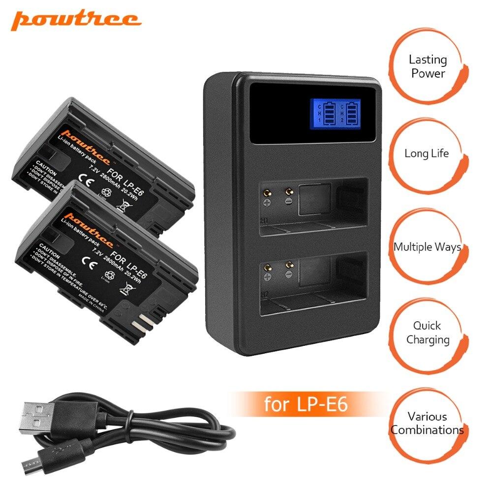 2X LP-E6 LPE6 LP E6 Rechargeable Caméra Batterie + Double Chargeur LED pour Canon 5D Mark II Mark III EOS6D 7D 60D 60Da 70D 80D L15