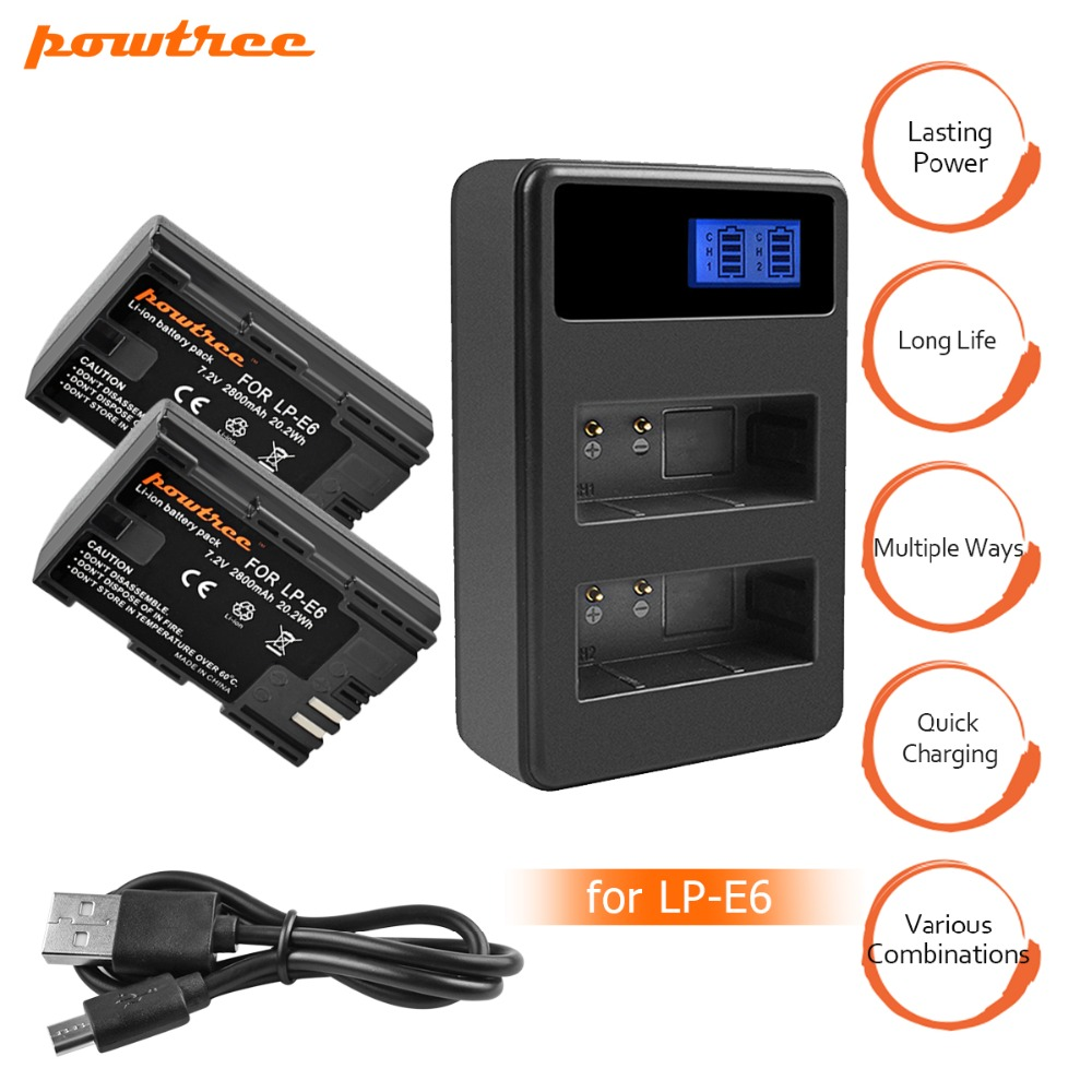 2X LP-E6 LPE6 LP E6 Rechargeable Camera Battery+Dual Charger with LED for Canon 5D Mark II Mark III EOS6D 7D 60D 60Da 70D 80D