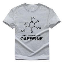 Free Shipping Powered by Caffeine Chemistry DIY Men and women With short sleeves Round collar Pure cotton T-shirt