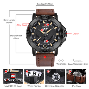 Image 5 - NAVIFORCE erkekler moda İş kuvars saatı yaratıcı spor saatler erkekler lüks marka İzle saat erkek Relogio Masculino