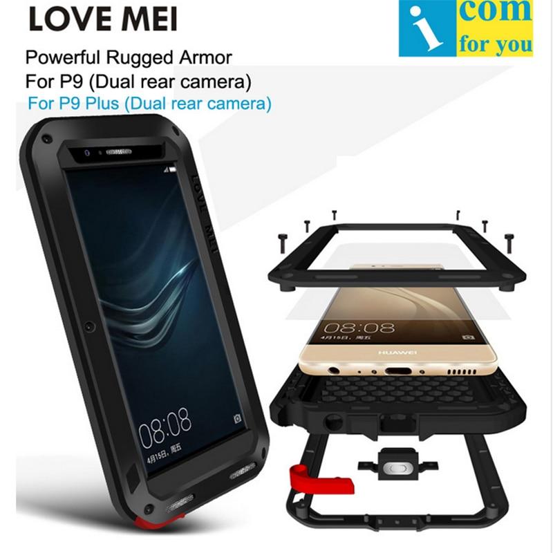 bilder für Liebe Mei Telefon abdeckung für huawei P9 plus Telefon fall neue wasserdichte Shockproof rüstung robuste Gorilla Glas phone cases Liebe Mei