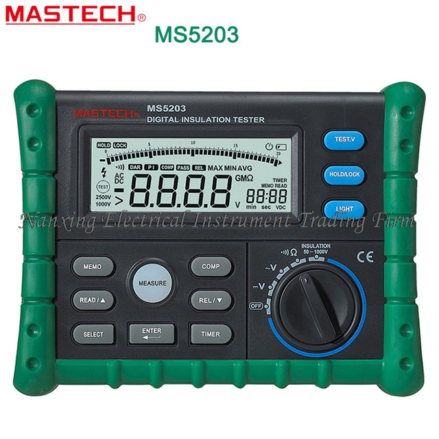 FAST SHIPMENT Mastech MS5203 Digital Megger Insulation Tester Resistance Meter Tecrep 10G 1000V AC/DC Voltage Electrical Test as907a digital insulation tester megger with voltage range 500v 1000v 2500v