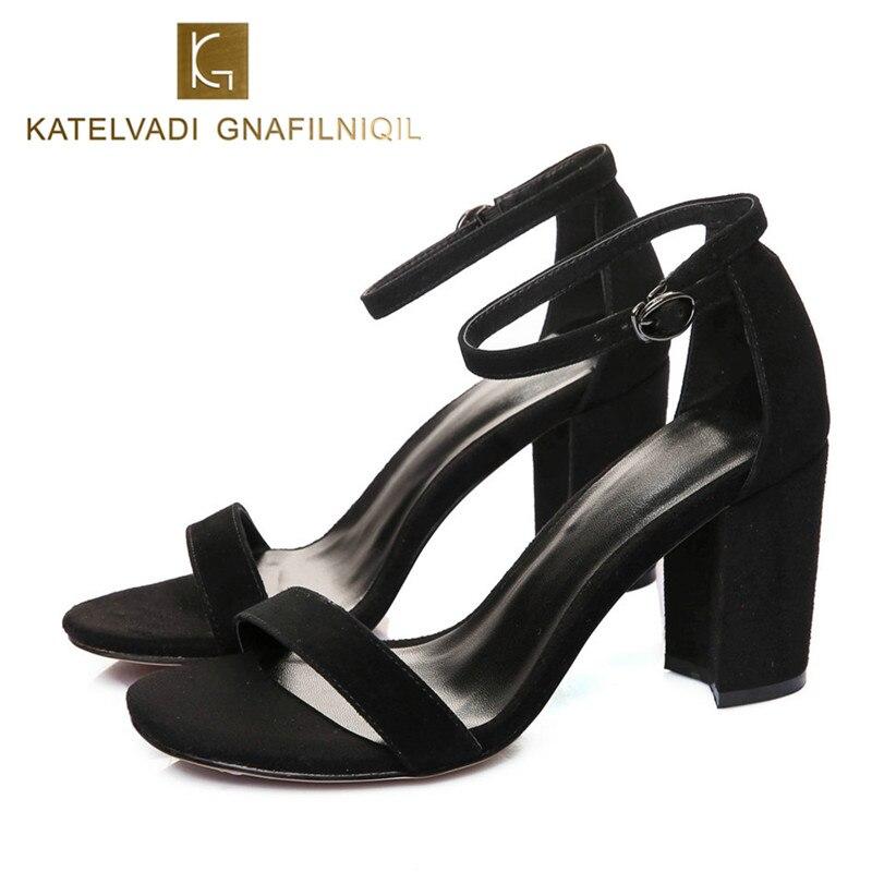 KATELVADI Shoes Women Black Gladiator Sandals Summer Ankle Strap 8CM High Heels Female K-317