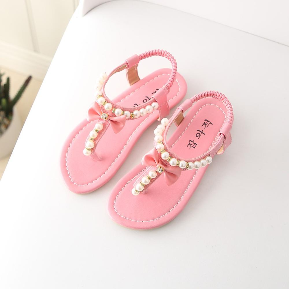 Summer Casual Children Shoes Toddler Infant Kids Baby Girls Bowknot Pearl Princess Thong Sandals Shoes Butterfly-knot SandalsSummer Casual Children Shoes Toddler Infant Kids Baby Girls Bowknot Pearl Princess Thong Sandals Shoes Butterfly-knot Sandals