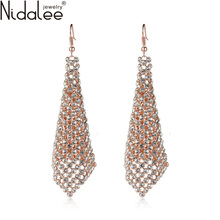 Nidalee Brand 2017 New Hot Top Zircon Drop Earrings For Women Fashion Exaggeration Dangle Earrings Wedding Jewelry Accessories