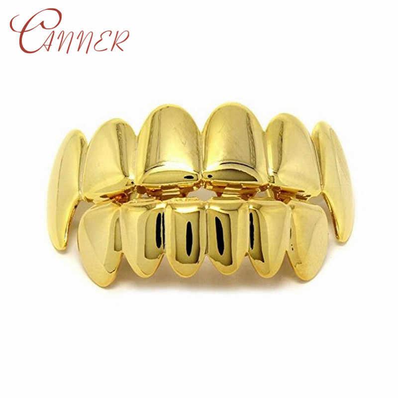 Набор золотых зубцов CANNER в стиле хип-хоп, набор зубных имитаторов с верхними и нижними зубцами
