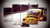 Çerçevesiz Baskılı 5 parça beetle sarı araba Boyama odası dekorasyon baskı posteri resim tuval Ücretsiz kargo