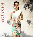 Spring and Summer Elegant Flowers Cheongsam Dress for Women Fashion Female Vintage Slim Short Qipao Casual Leisure Dress