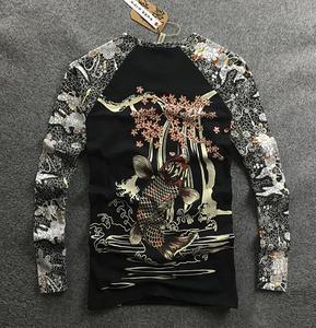 Image 2 - Mens Hip hop motorcycle T Shirts Tattoo Dimensional Printing Cotton Long Sleeved T Shirt Mens Slim Cherry Carp Pattern Tops Tee