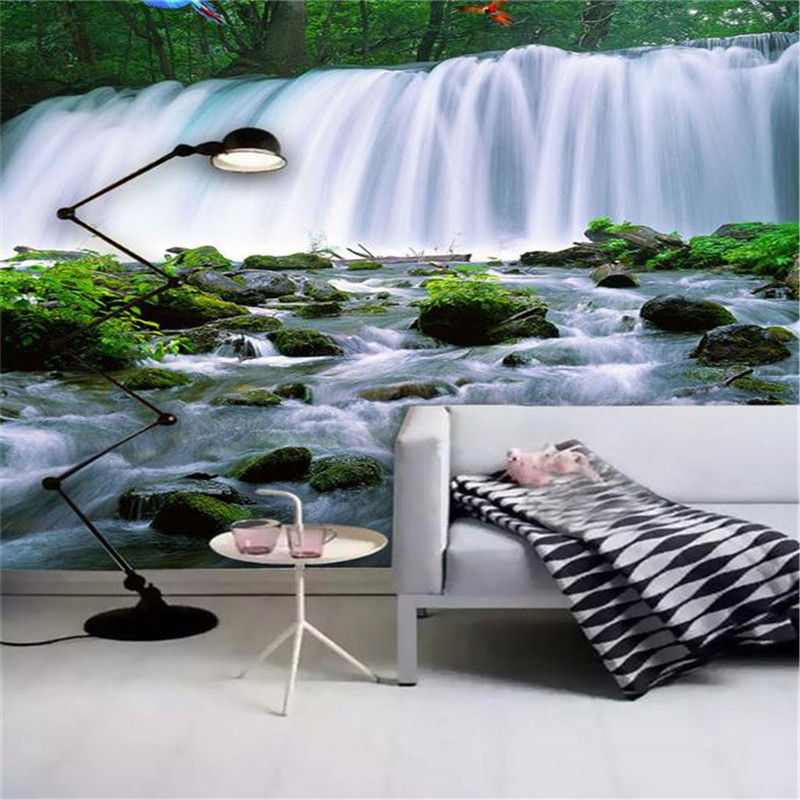 custom 3d stereoscopic modern photo wallpaper living room bedroom TV background wall mural landscape waterfalls parrot wallpaper custom green forest trees natural landscape mural for living room bedroom tv backdrop of modern 3d vinyl wallpaper murals
