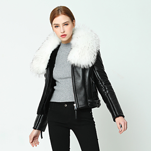 Image 2 - OFTBUY 2020 new Winter jacket coat women Real Sheep skin Leather jacket Double faced Fur With Raccoon Dog Fur Collar Wool Liner