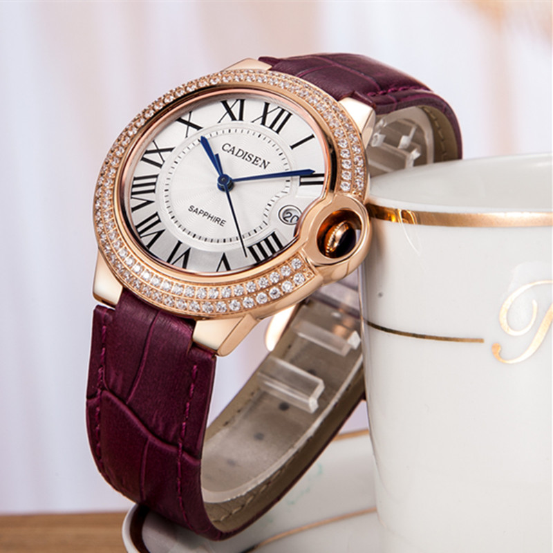 CADISEN Top Luxury Brand Name Ladies Geneva Quartz Watch Fashion Women Wrist Watches Famale Bracelet Clock Relogio Feminino Gift 2016 new fashion geneva women watch diamonds dress ladies casual quartz watch leather wrist women watches brand relogio feminino
