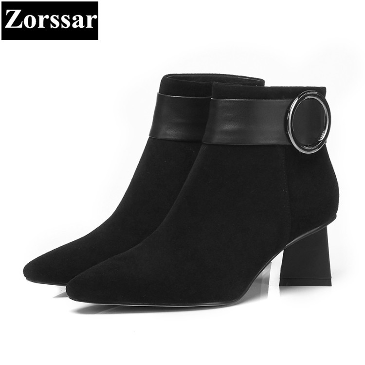 {Zorssar} 2017 NEW suede Leather Womens Chelsea boots pointed Toe High heels ankle Boots fashion Autumn winter women shoes zorssar brands 2018 new arrival fashion women shoes thick heel zipper ankle chelsea boots square toe high heels womens boots