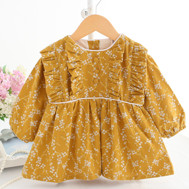 Baby Dresses Yellow Newborn Baby Girl Winter Clothes Long Sleeve