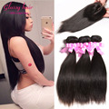 7A Malaysian Straight Hair With Closure 3 Bundles With Closure Malaysian Virgin Straight Hair With Lace Closure Cheap Human Hair