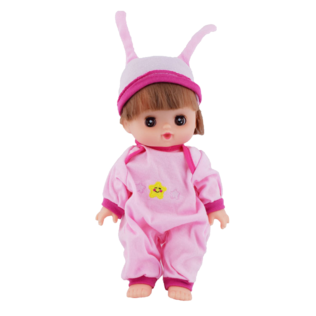 Lovely Pink Jumpsuit Rabbit Hat Outfit for Mellchan Doll 9-11inch Baby Girl Dolls Clothing Accessory