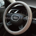 Man Business Tread Pattern Vehicle Steering Wheel Covers Genuine Leather 15 inch 38CM - Gray