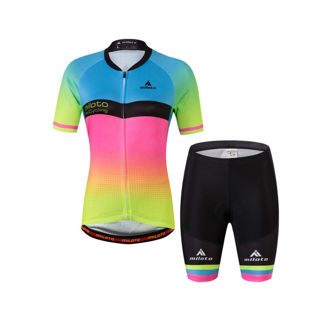 MILOTO Fluorescent Green Cycling Jersey Kit Womens Bike Bicycle Jerseys Tops  and Shorts Sets S-4XL de93e981a