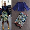 Nueva llegada de 2016 mujeres del Otoño moda vintage patrones de porcelana imprimir vaina lápiz mediados de-becerro falda + blusa de cuello cuadrado tops