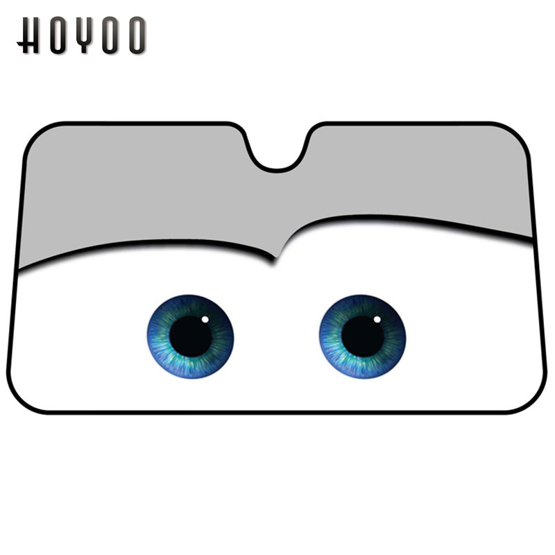 HOYOO Cute Cartoon Eyes Car Windshield Sunshade 130*70cm Auto Window Windscreen Cover Sun Shade Car-covers Car Solar Protection