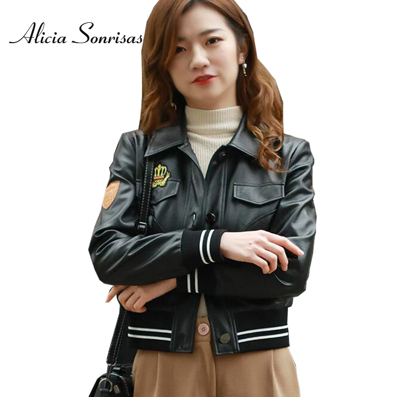 2018 Bomber Jacket Women Spring   Leather   Motorcycle PU Baseball Long Sleeve Pockets Single Breasted Buttons Bikers Coats