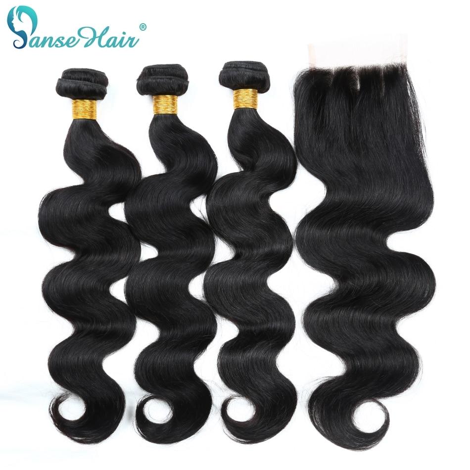 Panse Hair brazil haj test hullám emberi haj 3 csomó csipke - Emberi haj (fekete)