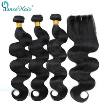 Panse Hair Brazilian Hair Body Wave Menneskehår 3 Bundler Med Lace Closure 4X4 Non Remy Hair 8 Til 28 Inches Gratis Levering