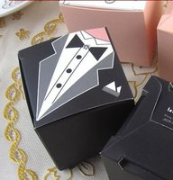 300pcs Lot Wedding Favor Bridal Dress And Groom Square Candy Box Packaging Gift Boxes Diamond Crystal