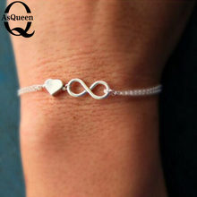 Hot Fashion Women's Lucky 8 and Heart Infinity charm bracelets & bangles Gift slave hand bracelet jewelry(China)