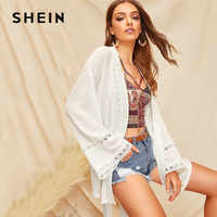 SHEIN Boho Drop Shoulder Circle Lace Trim White Kimono Cardigan Women Summer Solid Vacation Casual Flare Sleeve Long Kimono