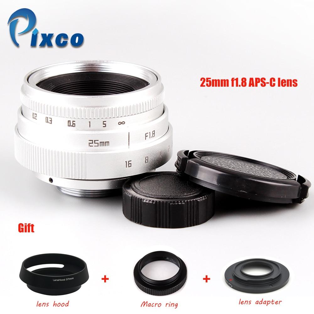 Zilveren 25 mm f / 1.8 APS-C TV-lens + lenskap + Macro Ring + C naar - Camera en foto